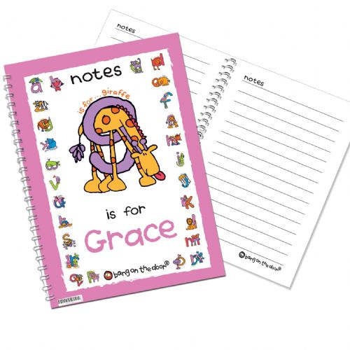 Personalised Bang On The Door Animal Alphabet Girls Notebook